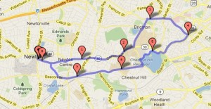 Bike route from Newton Free Library to Chestnut Hill Reservoir
