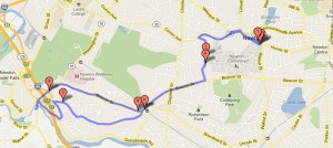 Bike route from Newton Free Library to Cordingly Dam