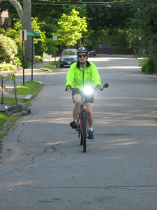 Molly Schaefer demonstrating safe biking